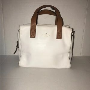 KATE SPADE White Leather Satchel/Crossbody